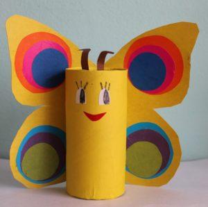 поделка из втулки и цветной бумаги бабочка