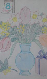 детский рисунок 8 марта на конкурс