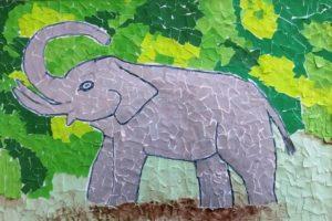 аппликация из цветной бумаги слон
