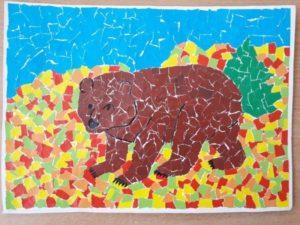 аппликация из цветной бумаги медведь